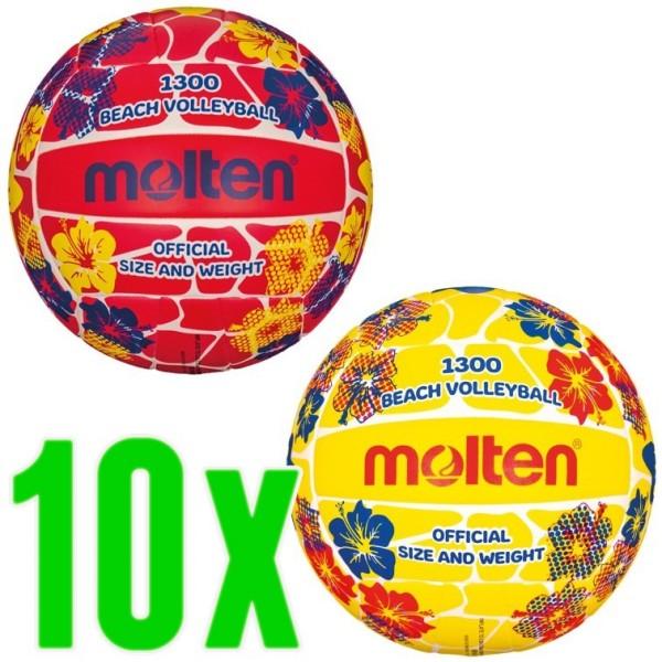 10er Ballpaket Molten Beachvolleyball aus Synthetik-Leder 1300